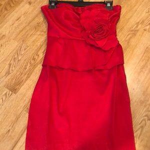 Red peplum mini cocktail dress